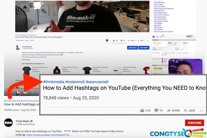 thủ thuật seo youtube — thẻ bắt đầu bằng # xuất hiện phía trên tiêu đề video